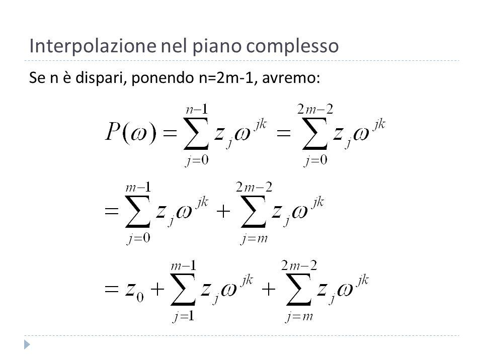 Interpolazione nel piano complesso Alla fine, per n dispari si ottiene: Analogamente per n pari poniamo n=2m, allora