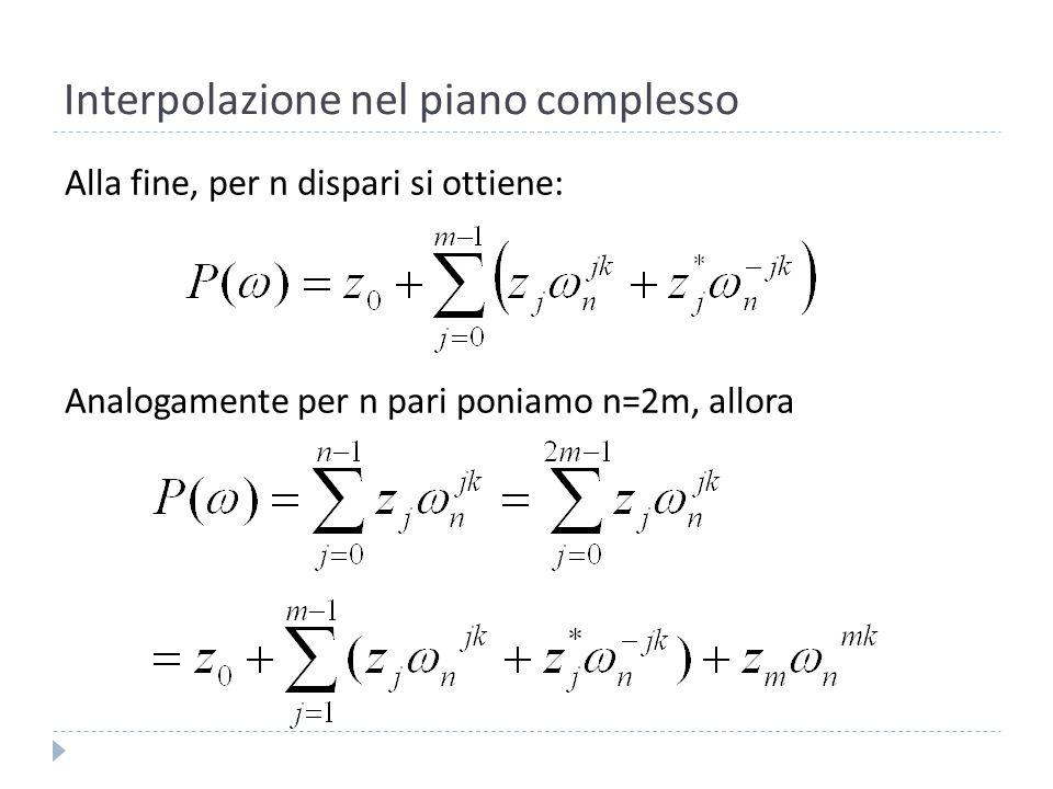 Interpolazione nel piano complesso Iniziamo calcolando Visto che (formula di Eulero):