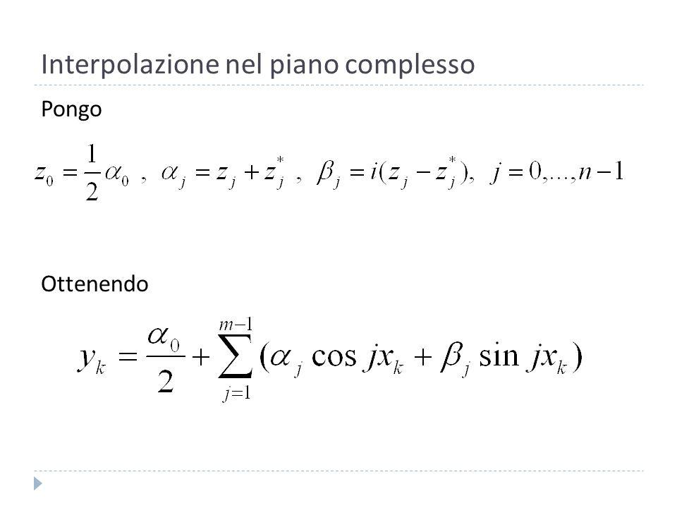 Interpolazione nel piano complesso Calcoliamo il coefficiente,, e per la 4: