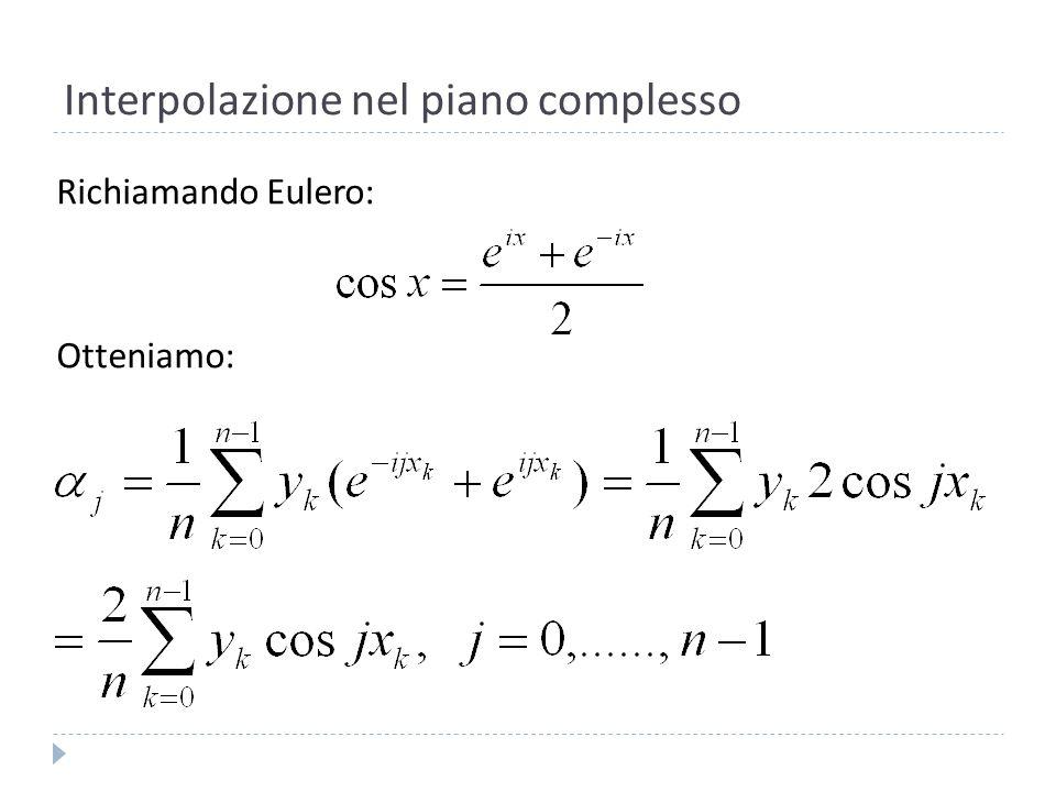 Interpolazione nel piano complesso Calcoliamo il coefficiente,, per la 4: