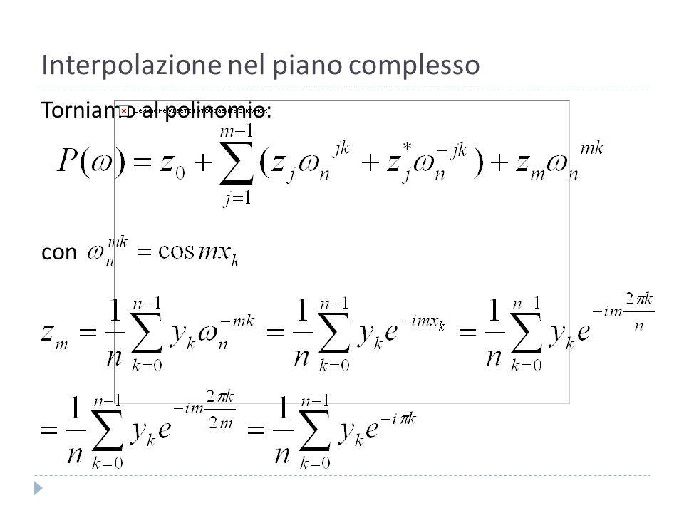 Interpolazione nel piano complesso Considerando che: Abbiamo: