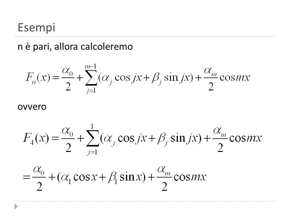 Esempi Calcoliamo i coefficienti:,,,.