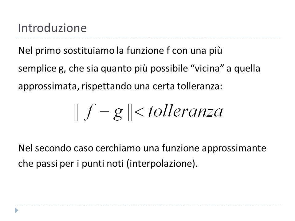 Interpolazione Nel caso dellinterpolazione vogliamo che la funzione interpolante passi esattamente per alcuni punti.