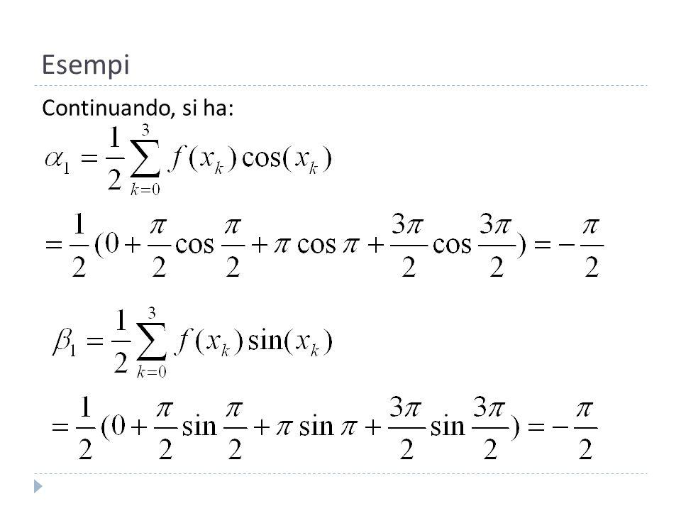 Esempi Lultimo coefficiente vale: