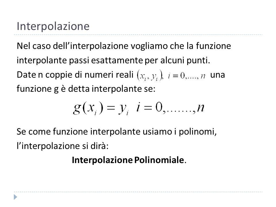Interpolazione Nel corso di Formazione Numerica abbiamo studiato vari metodi di interpolazione: Metodo dei coefficienti Indeterminati.