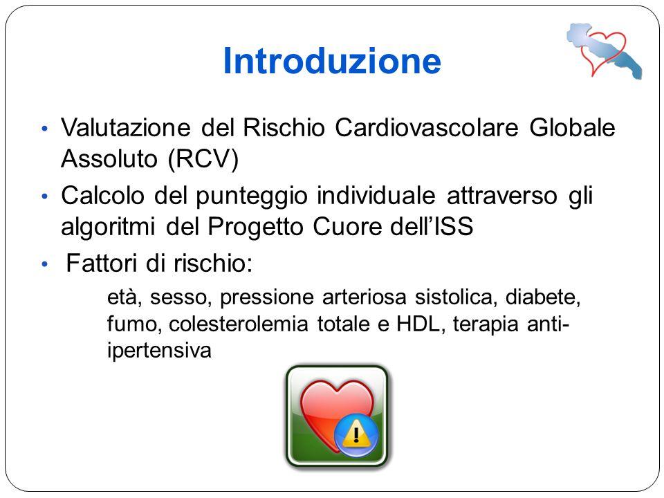 Introduzione Valutazione del Rischio Cardiovascolare Globale Assoluto (RCV) Calcolo del punteggio individuale attraverso gli algoritmi del Progetto Cu