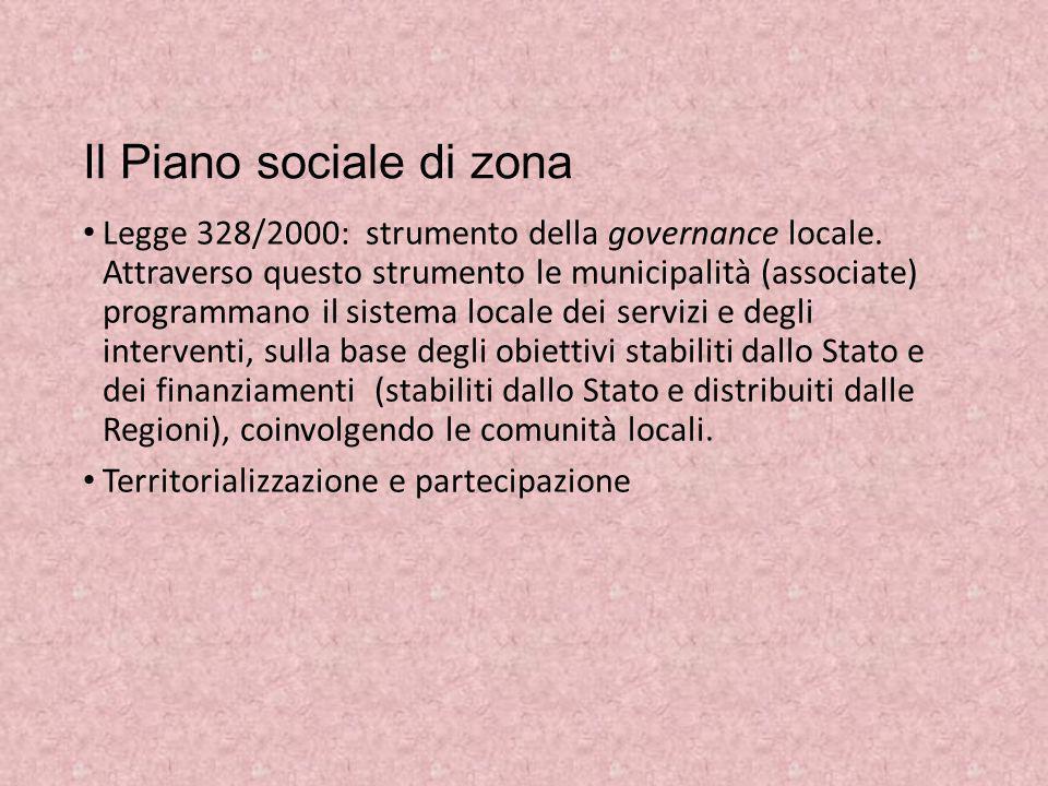 Il Piano sociale di zona Legge 328/2000: strumento della governance locale. Attraverso questo strumento le municipalità (associate) programmano il sis