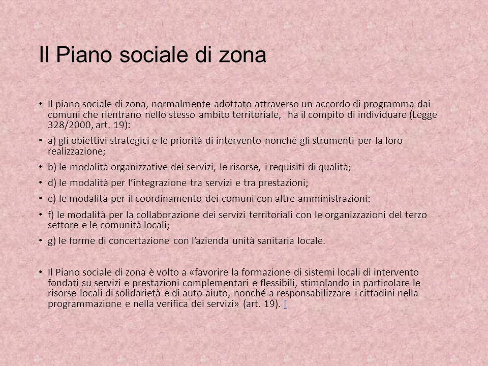 Il Piano sociale di zona Il piano sociale di zona, normalmente adottato attraverso un accordo di programma dai comuni che rientrano nello stesso ambit