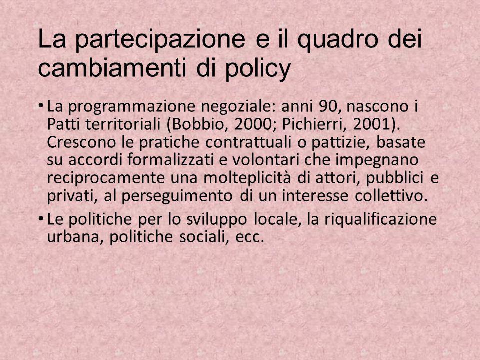 La partecipazione e il quadro dei cambiamenti di policy La programmazione negoziale: anni 90, nascono i Patti territoriali (Bobbio, 2000; Pichierri, 2