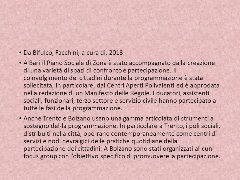 Da Bifulco, Facchini, a cura di, 2013 A Bari il Piano Sociale di Zona è stato accompagnato dalla creazione di una varietà di spazi di confronto e part