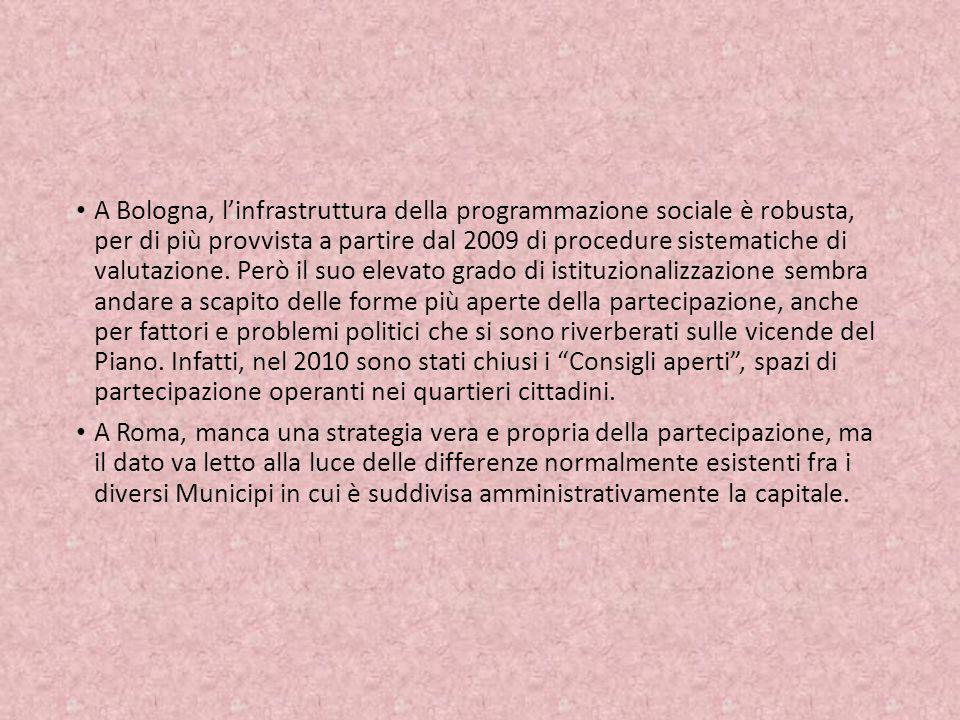 A Bologna, linfrastruttura della programmazione sociale è robusta, per di più provvista a partire dal 2009 di procedure sistematiche di valutazione. P