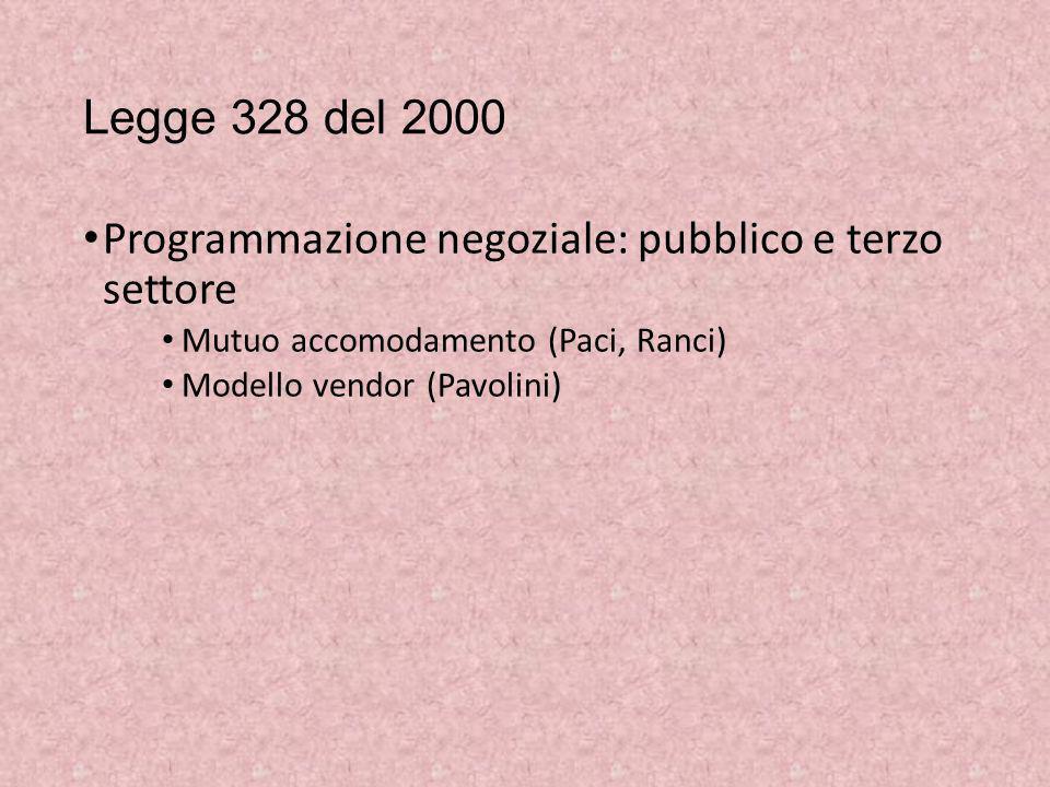 Legge 328 del 2000 Programmazione negoziale: pubblico e terzo settore Mutuo accomodamento (Paci, Ranci) Modello vendor (Pavolini)