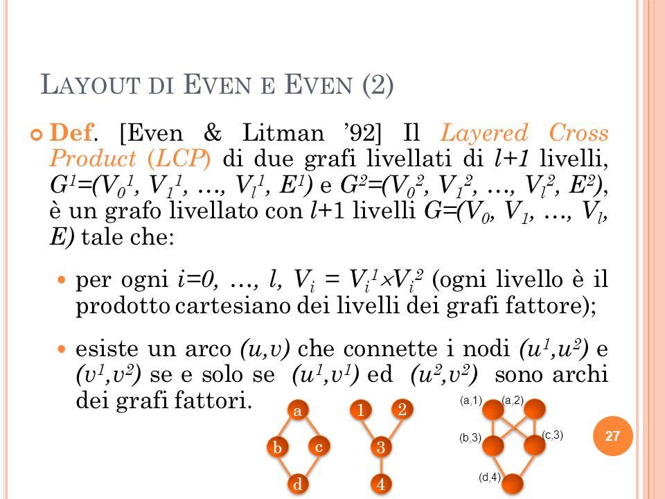 L AYOUT DI E VEN E E VEN (3) Even e Litman hanno dimo- strato che molte topologie di interconnessione ben note sono il risultato del prodotto di semplici grafi livellati come gli alberi.