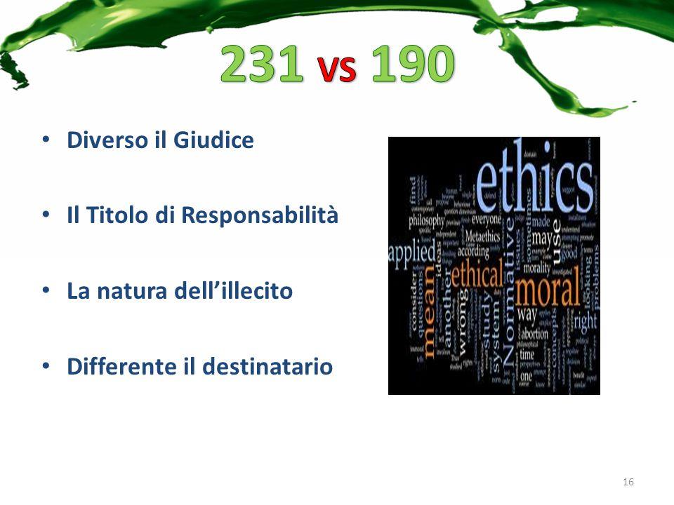 Diverso il Giudice Il Titolo di Responsabilità La natura dellillecito Differente il destinatario 16