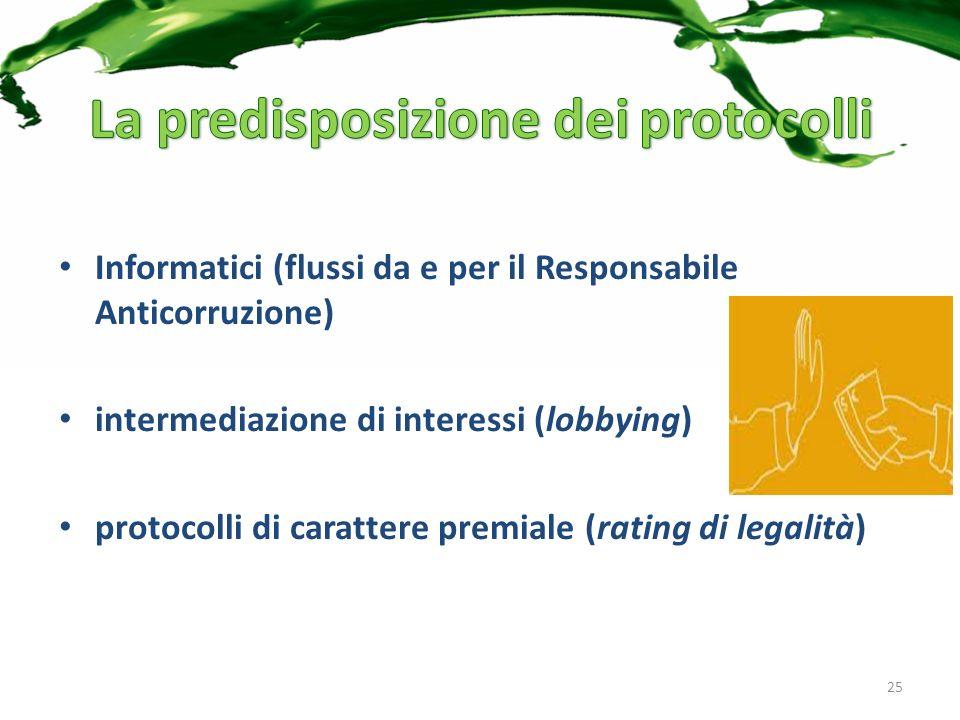 Informatici (flussi da e per il Responsabile Anticorruzione) intermediazione di interessi (lobbying) protocolli di carattere premiale (rating di legalità) 25
