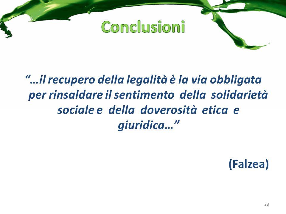 …il recupero della legalità è la via obbligata per rinsaldare il sentimento della solidarietà sociale e della doverosità etica e giuridica… (Falzea) 28