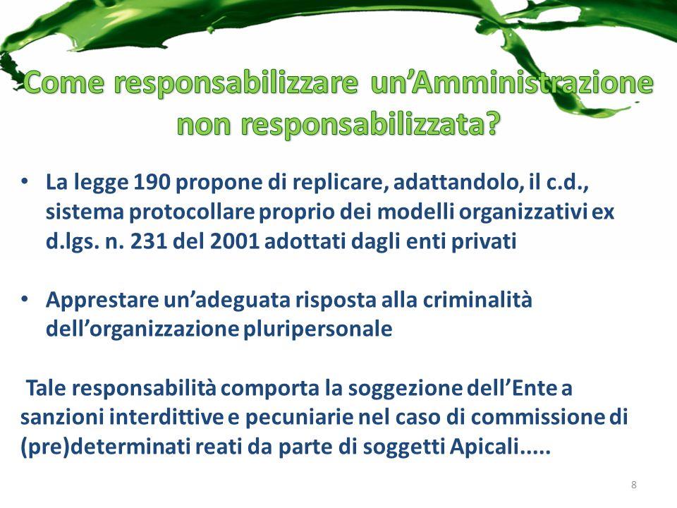 La legge 190 propone di replicare, adattandolo, il c.d., sistema protocollare proprio dei modelli organizzativi ex d.lgs.