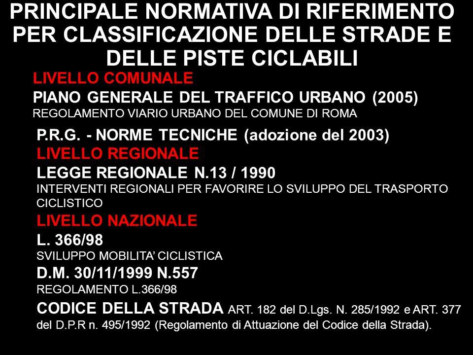 PRINCIPALE NORMATIVA DI RIFERIMENTO PER CLASSIFICAZIONE DELLE STRADE E DELLE PISTE CICLABILI LIVELLO COMUNALE PIANO GENERALE DEL TRAFFICO URBANO (2005
