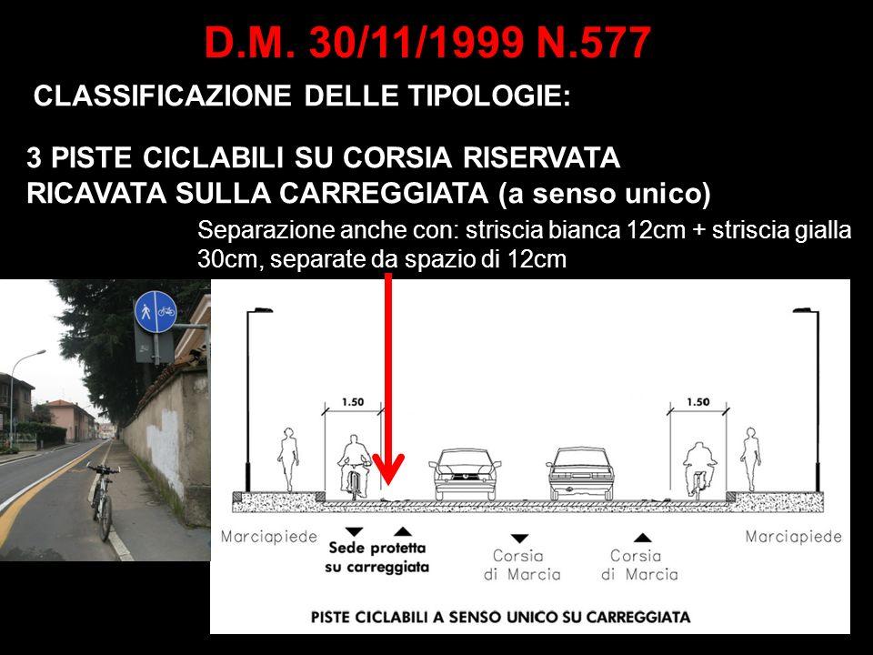 D.M. 30/11/1999 N.577 CLASSIFICAZIONE DELLE TIPOLOGIE: 3 PISTE CICLABILI SU CORSIA RISERVATA RICAVATA SULLA CARREGGIATA (a senso unico) Separazione an