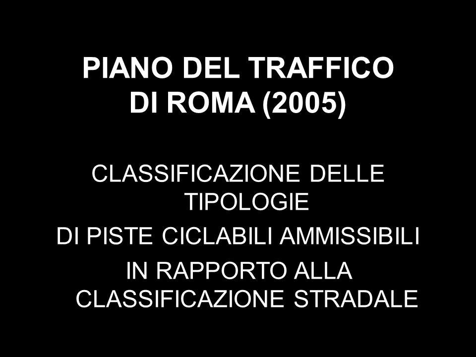 PIANO DEL TRAFFICO DI ROMA (2005) CLASSIFICAZIONE DELLE TIPOLOGIE DI PISTE CICLABILI AMMISSIBILI IN RAPPORTO ALLA CLASSIFICAZIONE STRADALE