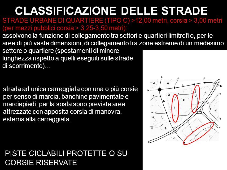 CLASSIFICAZIONE DELLE STRADE PISTE CICLABILI PROTETTE O SU CORSIE RISERVATE STRADE URBANE DI QUARTIERE (TIPO C) >12,00 metri, corsia > 3,00 metri (per