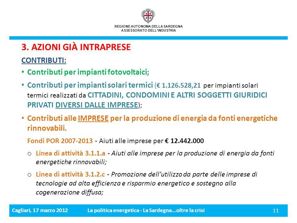 Cagliari, 17 marzo 2012La politica energetica - La Sardegna...oltre la crisi 11 REGIONE AUTONOMA DELLA SARDEGNA ASSESSORATO DELLINDUSTRIA 3.