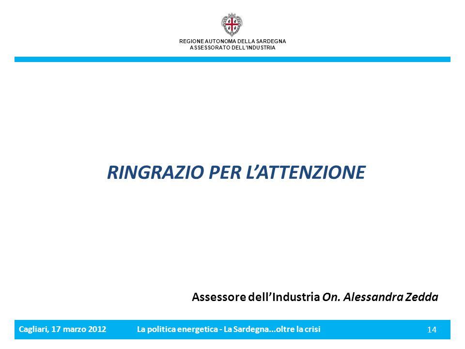 Cagliari, 17 marzo 2012La politica energetica - La Sardegna...oltre la crisi 14 REGIONE AUTONOMA DELLA SARDEGNA ASSESSORATO DELLINDUSTRIA RINGRAZIO PER LATTENZIONE Assessore dellIndustria On.