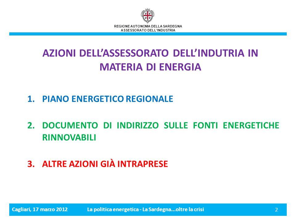Cagliari, 17 marzo 2012La politica energetica - La Sardegna...oltre la crisi 13 REGIONE AUTONOMA DELLA SARDEGNA ASSESSORATO DELLINDUSTRIA 3.
