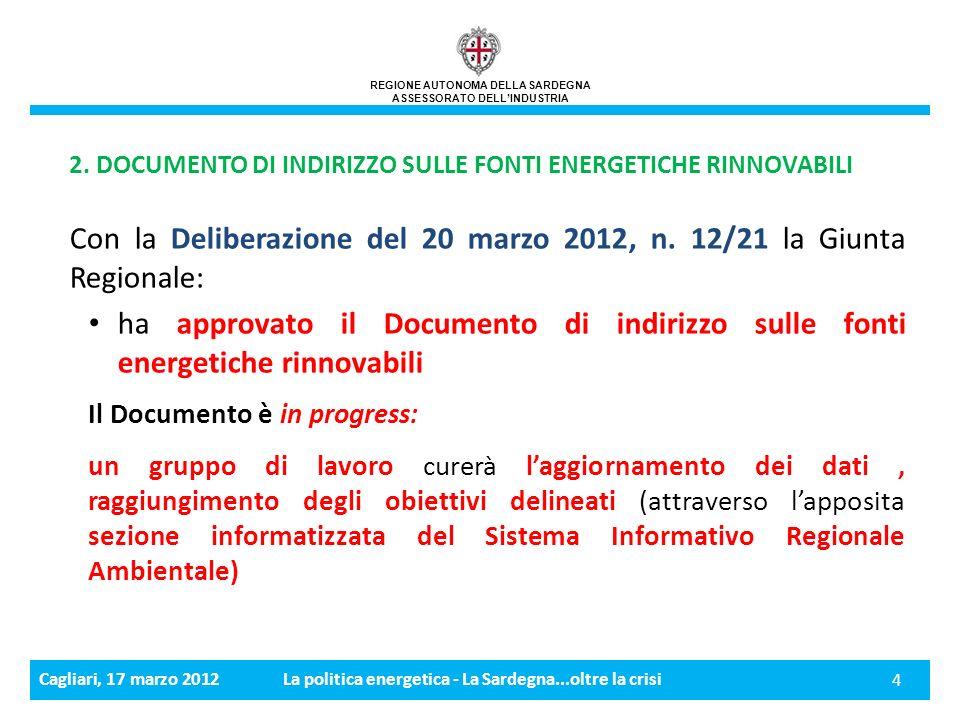 Cagliari, 17 marzo 2012La politica energetica - La Sardegna...oltre la crisi 4 2.