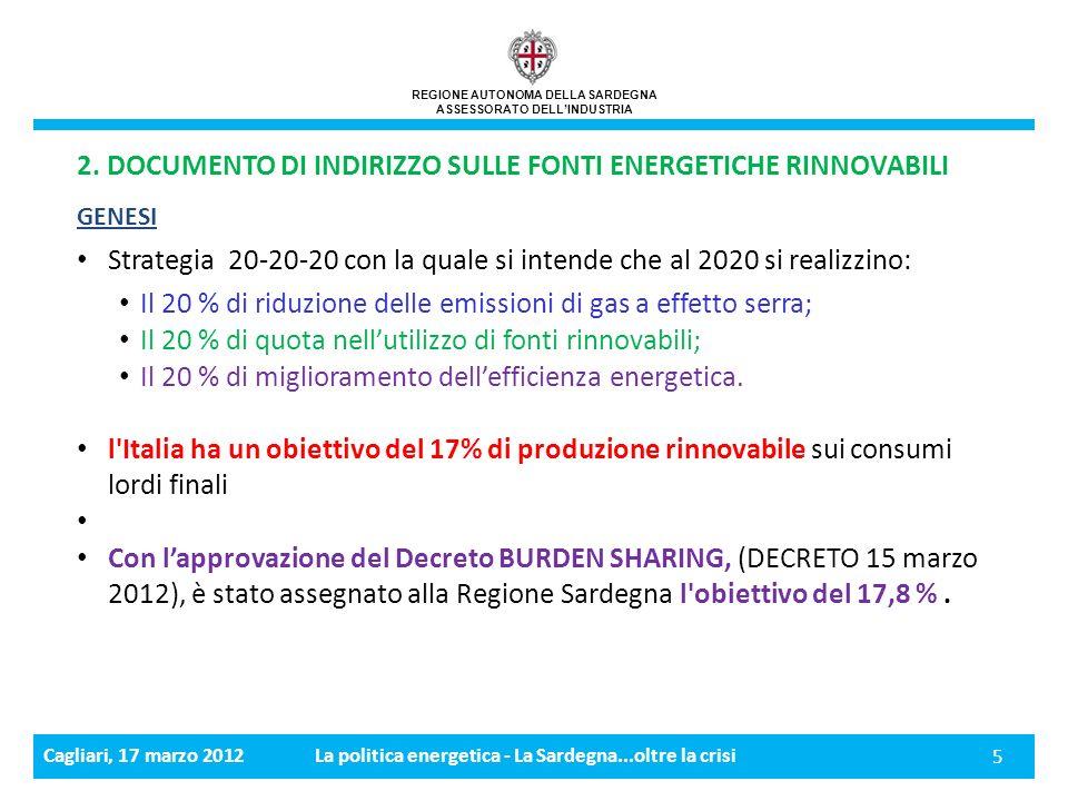 Cagliari, 17 marzo 2012La politica energetica - La Sardegna...oltre la crisi 5 REGIONE AUTONOMA DELLA SARDEGNA ASSESSORATO DELLINDUSTRIA 2.