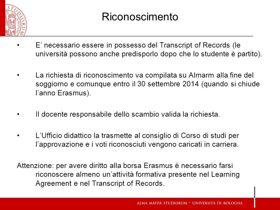 Riconoscimento E necessario essere in possesso del Transcript of Records (le università possono anche predisporlo dopo che lo studente è partito). La