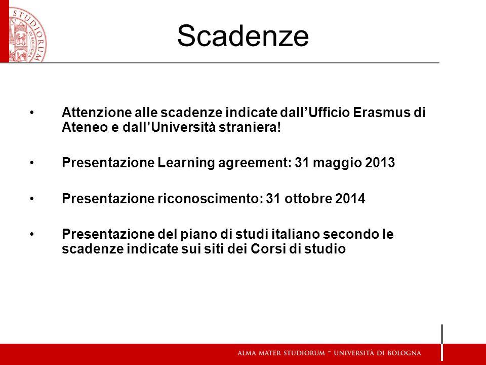 Scadenze Attenzione alle scadenze indicate dallUfficio Erasmus di Ateneo e dallUniversità straniera! Presentazione Learning agreement: 31 maggio 2013