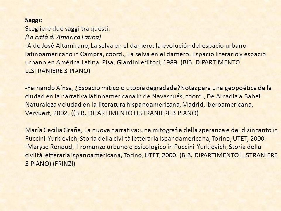 Saggi: Scegliere due saggi tra questi: (Le città di America Latina) -Aldo José Altamirano, La selva en el damero: la evolución del espacio urbano lati