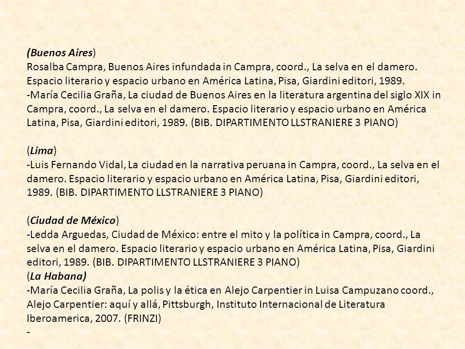 (Buenos Aires) Rosalba Campra, Buenos Aires infundada in Campra, coord., La selva en el damero. Espacio literario y espacio urbano en América Latina,