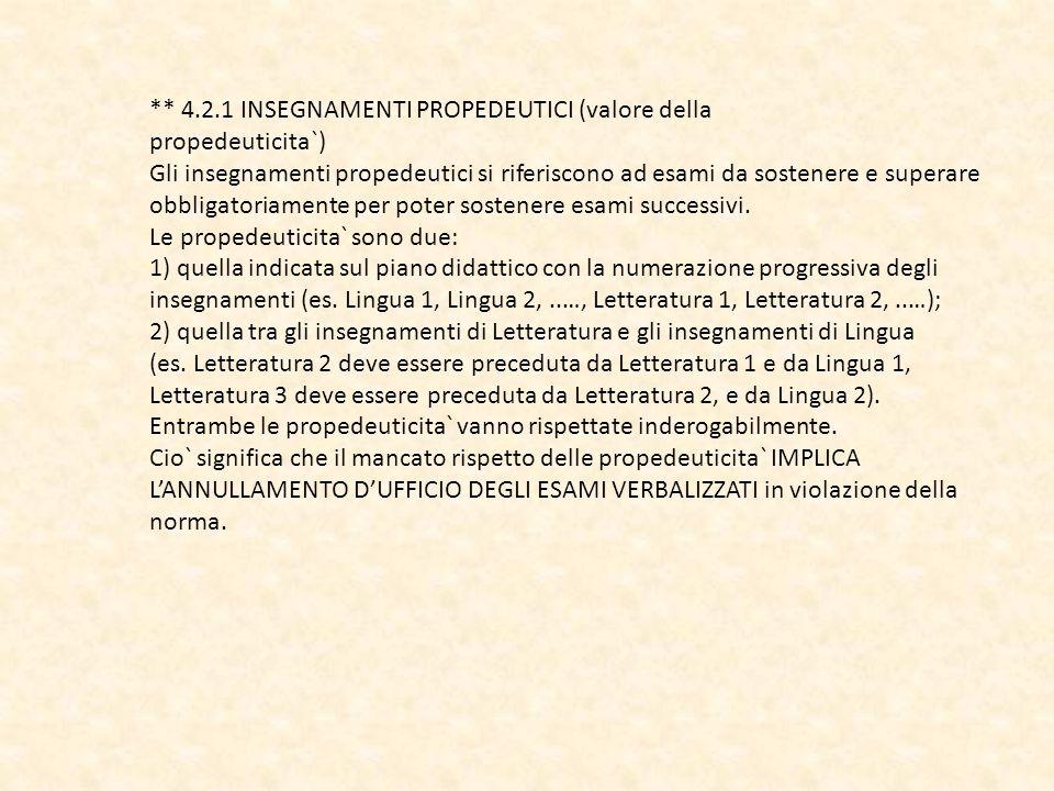 ** 4.2.1 INSEGNAMENTI PROPEDEUTICI (valore della propedeuticita`) Gli insegnamenti propedeutici si riferiscono ad esami da sostenere e superare obblig