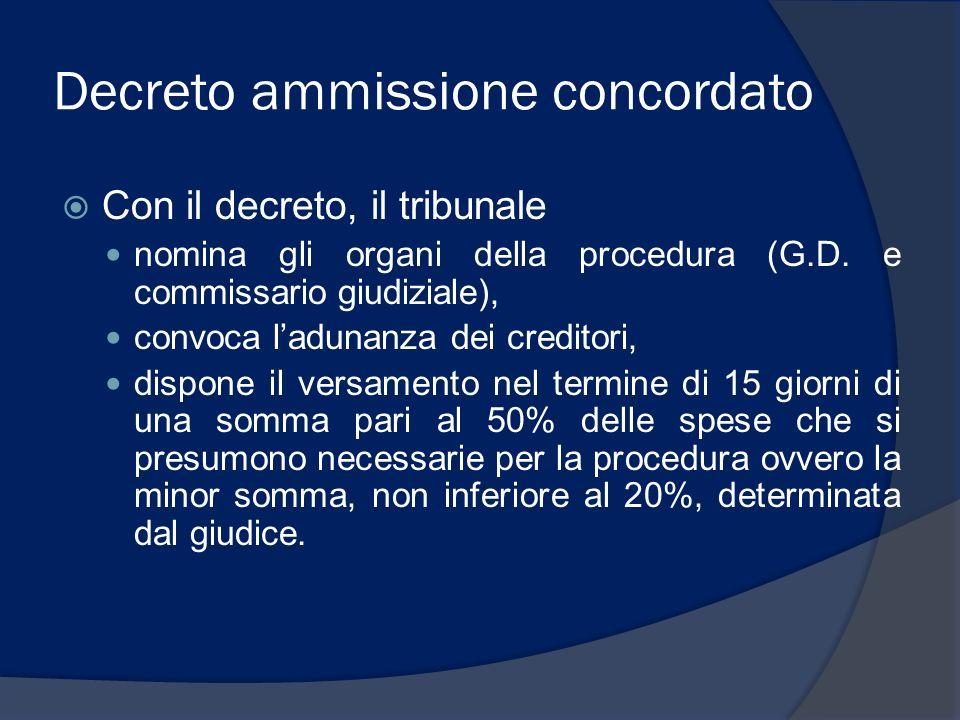 Decreto ammissione concordato Con il decreto, il tribunale nomina gli organi della procedura (G.D. e commissario giudiziale), convoca ladunanza dei cr