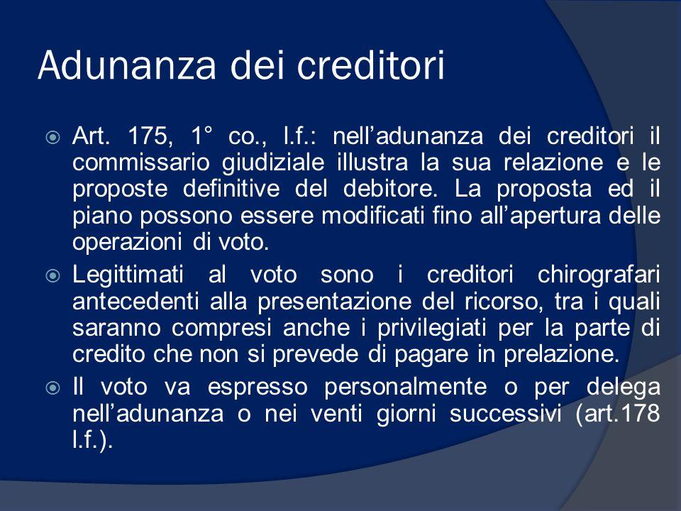 Adunanza dei creditori Art. 175, 1° co., l.f.: nelladunanza dei creditori il commissario giudiziale illustra la sua relazione e le proposte definitive