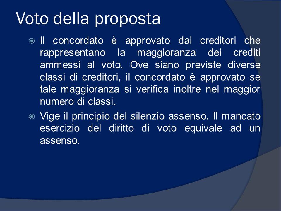 Voto della proposta Il concordato è approvato dai creditori che rappresentano la maggioranza dei crediti ammessi al voto. Ove siano previste diverse c