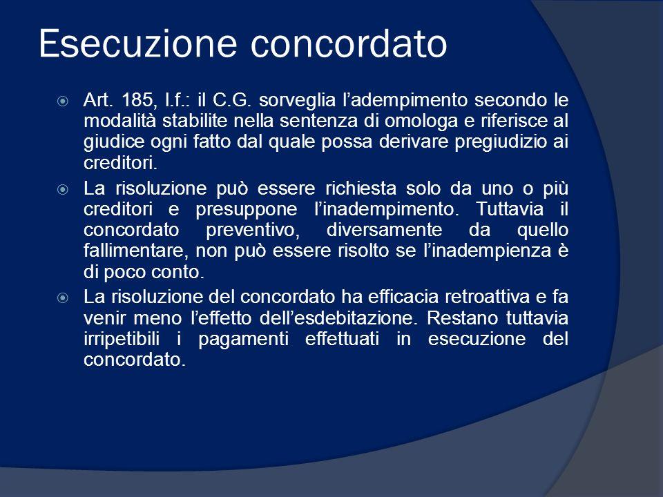 Esecuzione concordato Art. 185, l.f.: il C.G. sorveglia ladempimento secondo le modalità stabilite nella sentenza di omologa e riferisce al giudice og