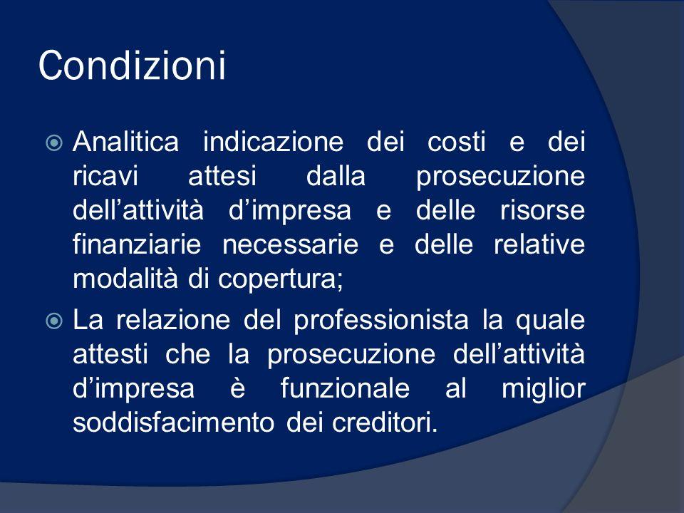 Condizioni Analitica indicazione dei costi e dei ricavi attesi dalla prosecuzione dellattività dimpresa e delle risorse finanziarie necessarie e delle