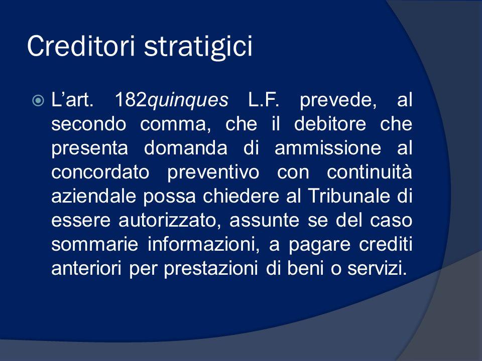 Creditori stratigici Lart. 182quinques L.F. prevede, al secondo comma, che il debitore che presenta domanda di ammissione al concordato preventivo con