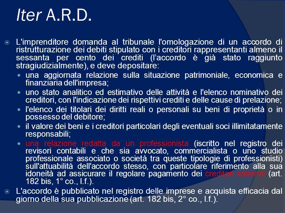 Iter A.R.D. L'imprenditore domanda al tribunale l'omologazione di un accordo di ristrutturazione dei debiti stipulato con i creditori rappresentanti a