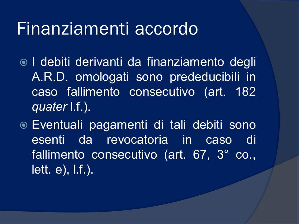 Finanziamenti accordo I debiti derivanti da finanziamento degli A.R.D. omologati sono prededucibili in caso fallimento consecutivo (art. 182 quater l.