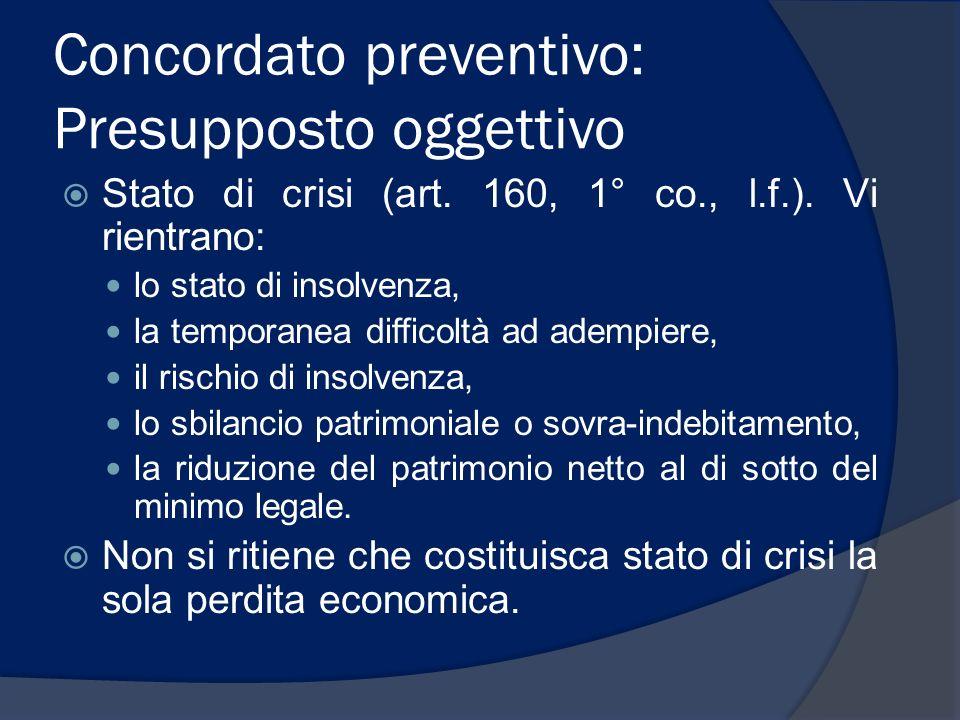 Concordato preventivo: Presupposto oggettivo Stato di crisi (art. 160, 1° co., l.f.). Vi rientrano: lo stato di insolvenza, la temporanea difficoltà a
