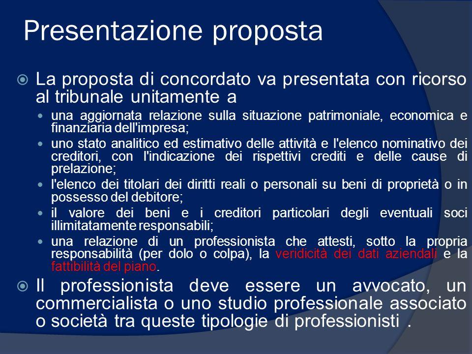 Presentazione proposta La proposta di concordato va presentata con ricorso al tribunale unitamente a una aggiornata relazione sulla situazione patrimo