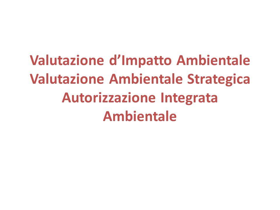 Valutazione dImpatto Ambientale Valutazione Ambientale Strategica Autorizzazione Integrata Ambientale