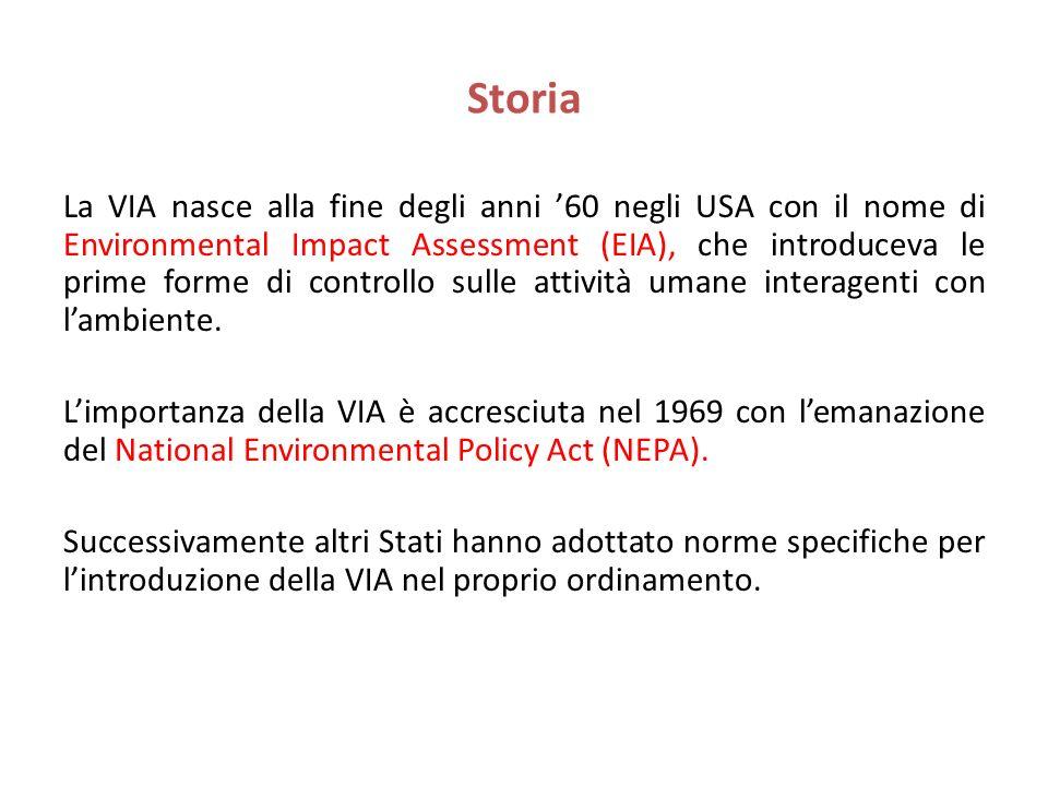 Storia La VIA nasce alla fine degli anni 60 negli USA con il nome di Environmental Impact Assessment (EIA), che introduceva le prime forme di controll