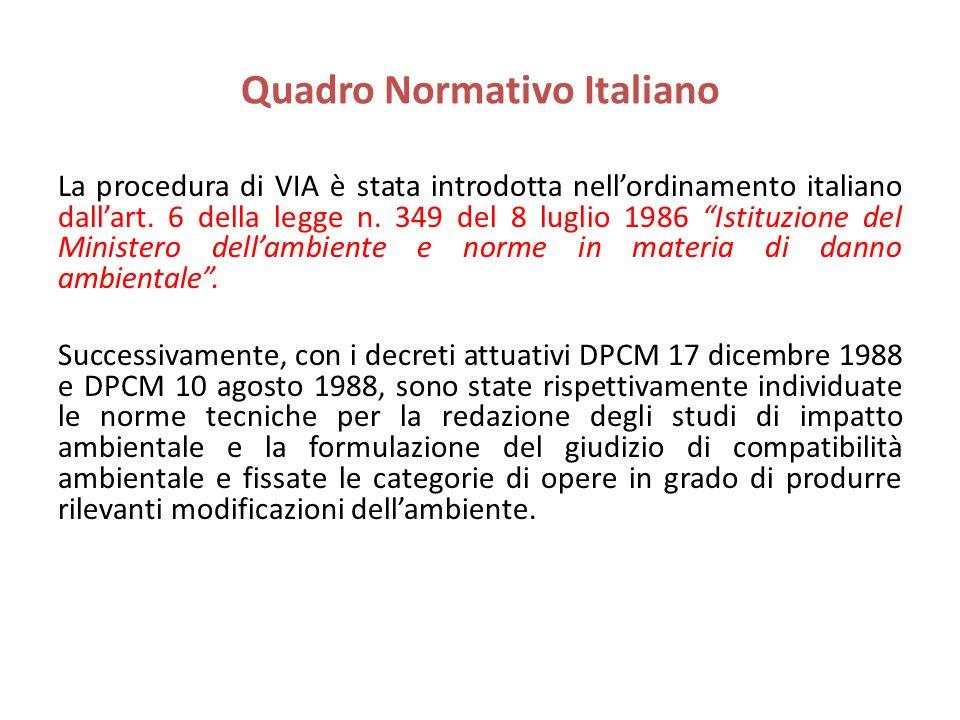 Quadro Normativo Italiano La procedura di VIA è stata introdotta nellordinamento italiano dallart. 6 della legge n. 349 del 8 luglio 1986 Istituzione