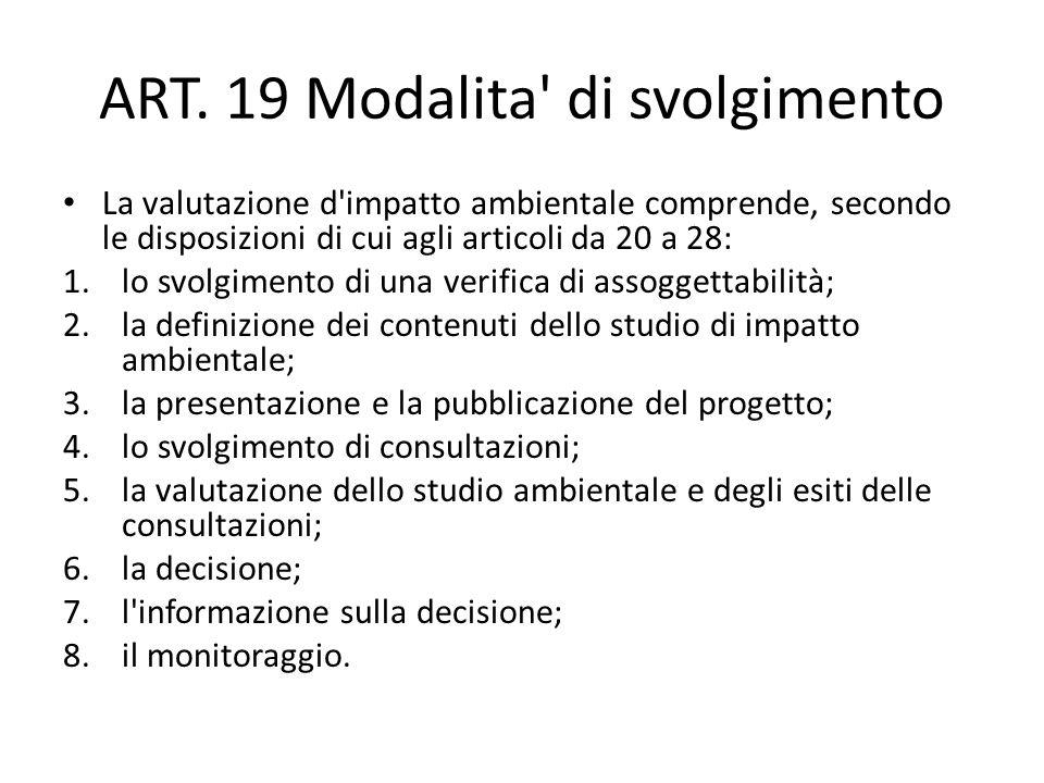 ART. 19 Modalita' di svolgimento La valutazione d'impatto ambientale comprende, secondo le disposizioni di cui agli articoli da 20 a 28: 1.lo svolgime