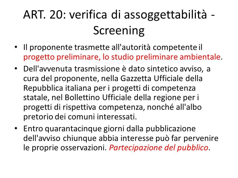 ART. 20: verifica di assoggettabilità - Screening Il proponente trasmette all'autorità competente il progetto preliminare, lo studio preliminare ambie